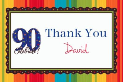 A Year to Celebrate 90 Custom Thank You Note