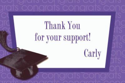 Purple Congrats Grad Custom Graduation Thank You Notes