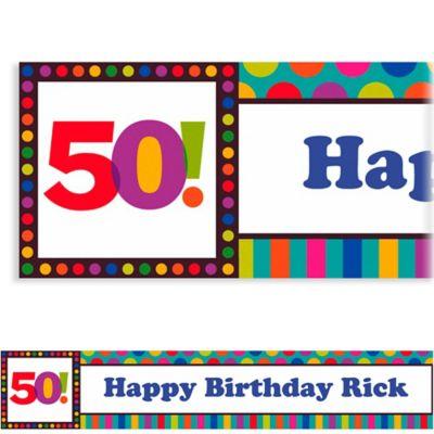 Birthday Dots & Stripes 50 Custom Banner 6ft