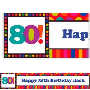 Custom Birthday Dots & Stripes 80th Banner 6ft