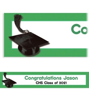 Custom Green Congrats Grad Banner 6ft