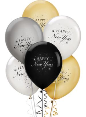 Black, Gold & Silver Happy New Year Balloons 15ct