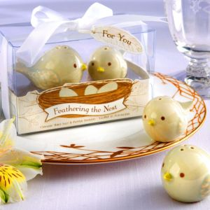 Feathering the Nest Ceramic Birds Salt & Pepper Shakers Baby Shower Favor