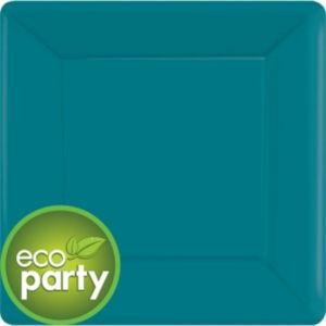 Eco-Friendly Peacock Blue Paper Square Dinner Plates 20ct