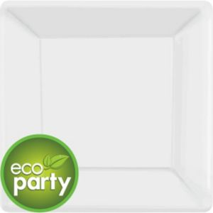 Eco Friendly White Paper Square Dinner Plates 20ct
