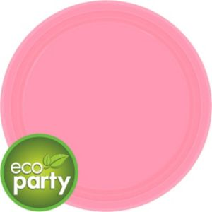 Eco-Friendly Pink Paper Lunch Plates 24ct