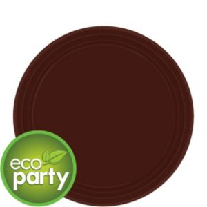 Eco-Friendly Chocolate Brown Paper Dessert Plates 24ct