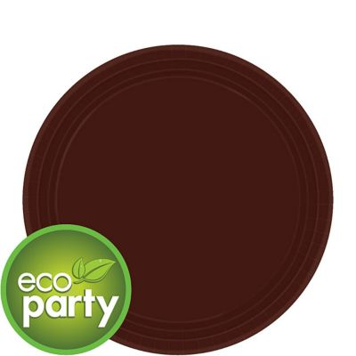 Eco Friendly Chocolate Brown Paper Dessert Plates 24ct