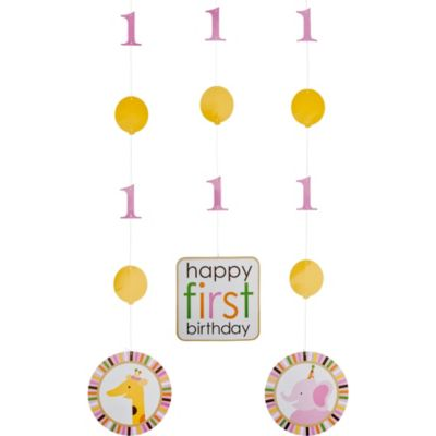Pink Sweet at One 1st Birthday String Decorations 3ct