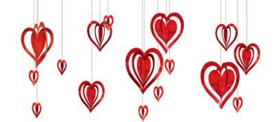 3D Foil Heart Decorations 16ct