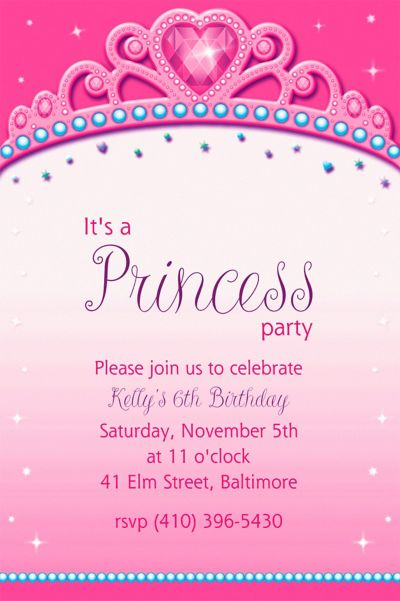 Custom Princess for a Day Invitations