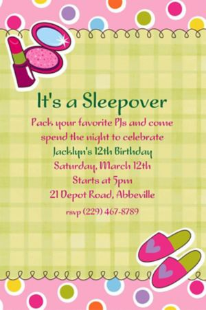 Custom Sleepover Party Invitations