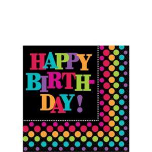 Happy Birthday Beverage Napkins 16ct - Rainbow Dot