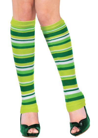 Adult Green Striped Leg Warmers