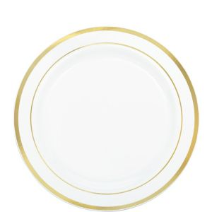 White Gold-Trimmed Premium Plastic Lunch Plates 20ct