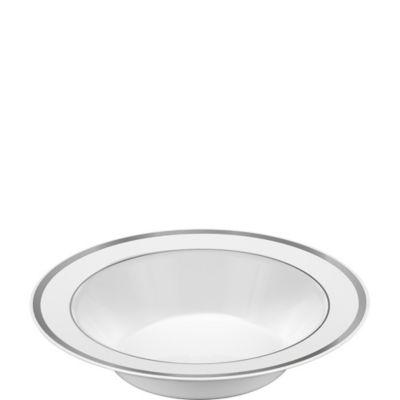 White Silver Trimmed Premium Plastic Bowls 10ct