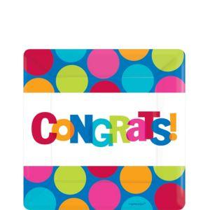 Cabana Polka Dot Congratulations Dessert Plates 8ct