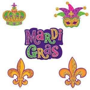 Glitter Mardi Gras Cutouts 10ct