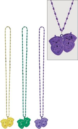 Mardi Gras Necklace with Drama Masks Pendant 3ct