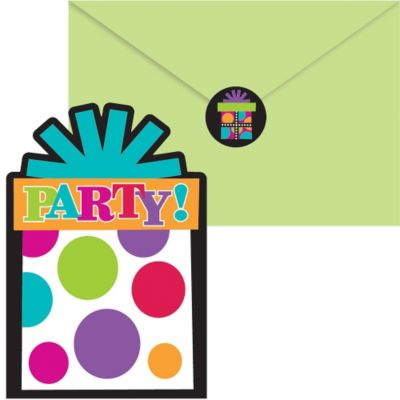 Happy Birthday Invitations 20ct - Rainbow Dot