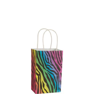 Rainbow Zebra Gift Bag 8in