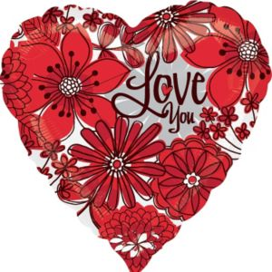 Foil Flower Love You Valentines Day Balloon