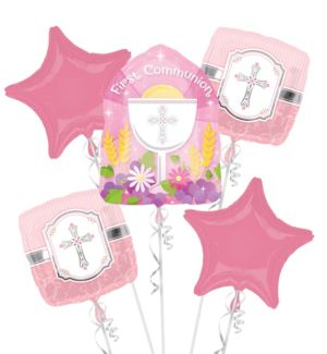 First Communion Balloon Bouquet 5pc - Pink Blessings