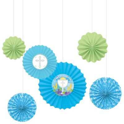 Blue First Communion Paper Fan Decorations 6ct