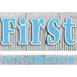 Blue Fringe First Communion Banner