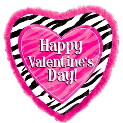 Foil Valentines Day Zebra Print Balloon with Feathers