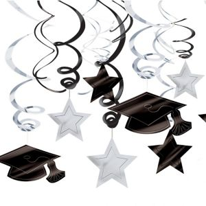 White Graduation Swirl Decorations 30ct