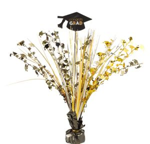 Congrats Grad Black, Gold & Silver Graduation Spray Centerpiece