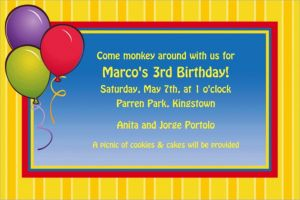 Custom Balloons & Stripes Invitations
