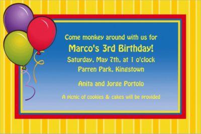 Balloons & Stripes Custom Invitation