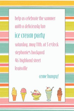 Custom Sweet Soiree Ice Cream Party Invitations