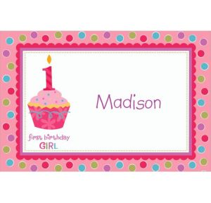 Custom Sweet Little Cupcake Girl Thank You Notes