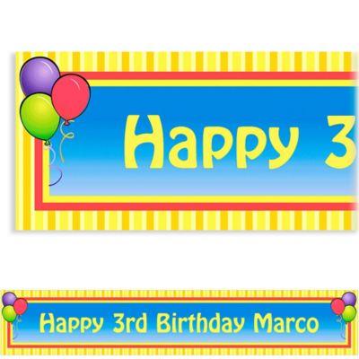 Balloons & Stripes Custom Banner 6ft