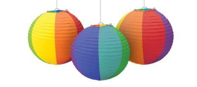 Rainbow Paper Lanterns 9 1/2in 3ct
