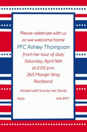 Custom American Summer Stripes Welcome Home Invitations