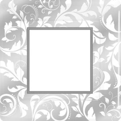 Silver Wedding Dinner Plates 8ct