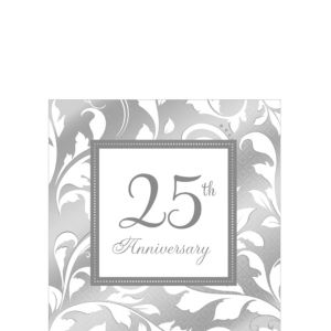 Silver 25th Anniversary Beverage Napkins 16ct