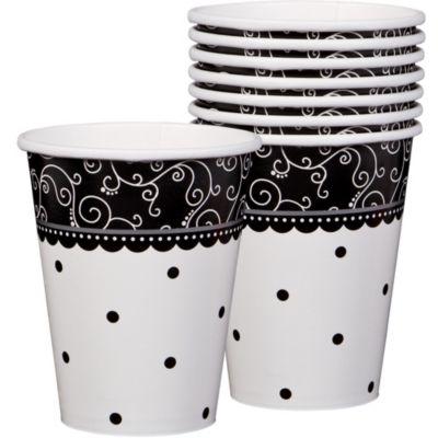 Black & White Wedding Cups 8ct