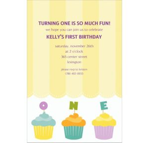 Custom Lined Up Cupcakes Invitations