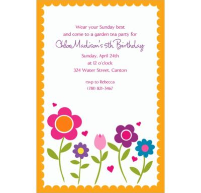 Custom Pretty Flowers with Scallop Invitations