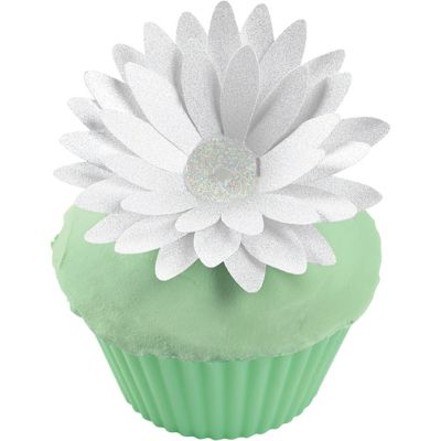 Glitter Daisy Cake Picks 12ct