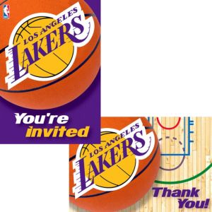 Los Angeles Lakers Invitations & Thank You Notes for 8