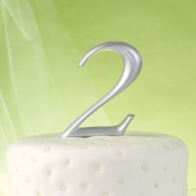 Silver Number 2 Cake Topper