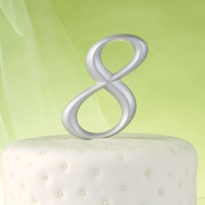 Silver Number 8 Cake Topper