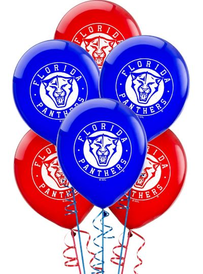 Latex Florida Panthers Balloons 6ct