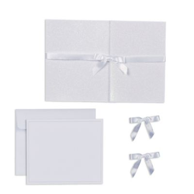 White Glitter Pocket Printable Wedding Invitations Kit 25ct